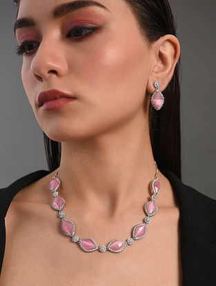 Pink Silver Tone Handcrafted Necklace With Earrings