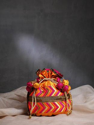 Multicolored Handcrafted Phulkari Cotton Silk Potli