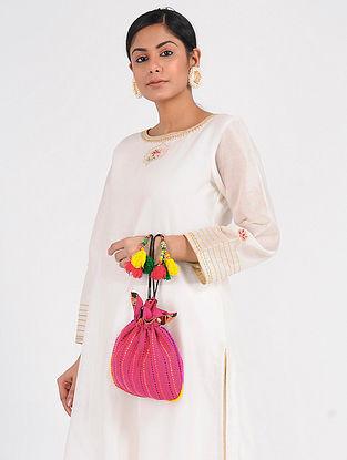 Pink-Multicolored Cotton Silk Potli
