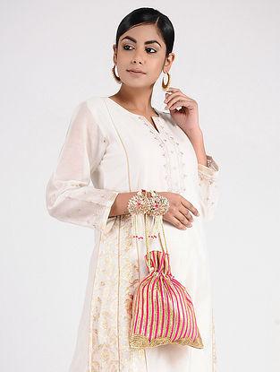 Pink Handcrafted Silk Potli with Gota Patti