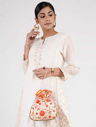 White-Multicolored Handcrafted Embroidered Potli