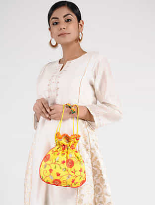 Yellow-Multicolored Handcrafted Embroidered Potli