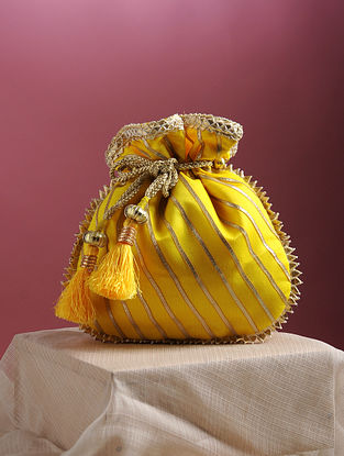 Yellow Handcrafted Chanderi Cotton Potli with Gota Patti