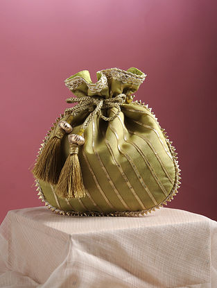 Green Handcrafted Chanderi Cotton Potli with Gota Patti