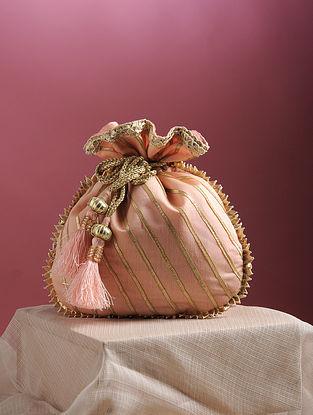 Pink Handcrafted Chanderi Cotton Potli with Gota Patti