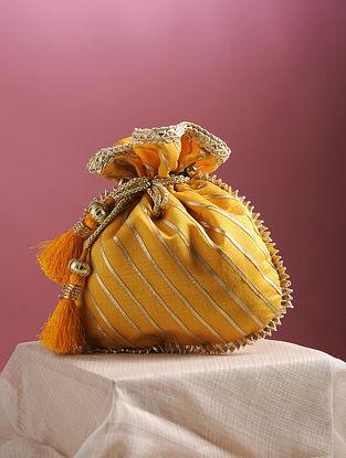 Mustard Yellow Handcrafted Chanderi Cotton Potli with Gota Patti