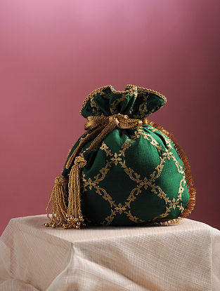 Green Handcrafted Zari Embroidered Pure Crepe Potli