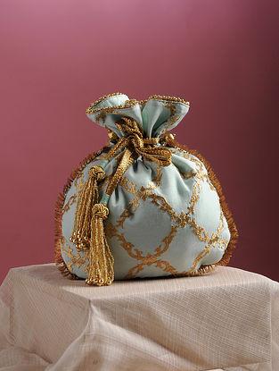 Powder Blue Handcrafted Zari Embroidered Pure Crepe Potli
