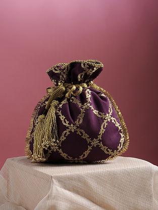 Purple Handcrafted Zari Embroidered Pure Crepe Potli