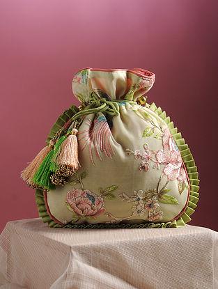 White Multicolored Thread Embroidered Potli