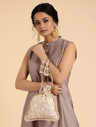 White-Gold Handcrafted Embroidered Potli