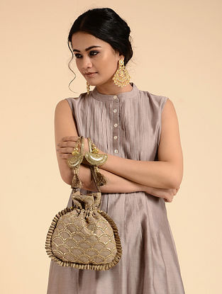Gold Handcrafted Sequins Embroidered Potli