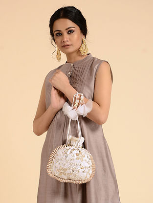 White-Gold Handcrafted Embroidered Potli with Sequins and Pearls
