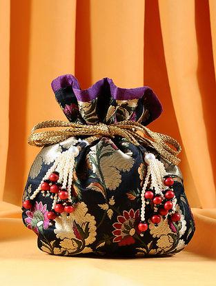 Black Multicolored Handcrafted Brocade Kim Khwab Potli