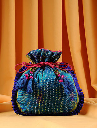 Blue Green Handcrafted Kantha Embroidered Silk Potli