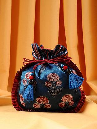 Blue Maroon Handcrafted Ajrakh Printed Silk Potli