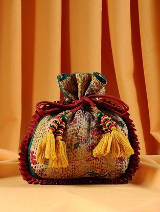 Mustard Maroon Handcrafted Kantha Embroidered Silk Potli
