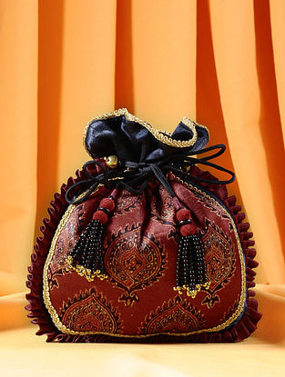 Maroon Black Handcrafted Ajrakh Printed Silk Potli
