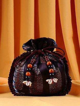 Brown Maroon Handcrafted Ajrakh Printed Silk Potli