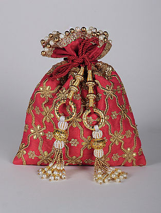 Red Gold Handcrafted Embroidered Dupion Silk Potli