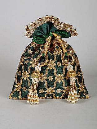 Green Gold Handcrafted Embroidered Dupion Silk Potli