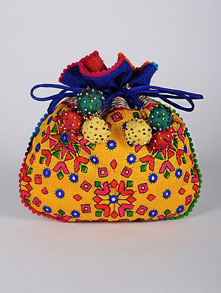 Yellow Multicolored Handcrafted Thread Embroidered Dupion Silk Potli