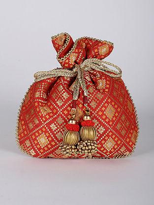 Red Handcrafted Brocade Silk Potli