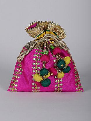 Pink Yellow Handcrafted Dupion Silk Potli with Gotapatti
