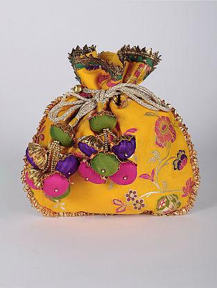 Yellow Multicolored Handcrafted Brocade Silk Potli