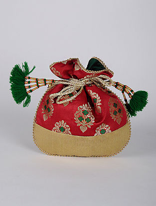 Red Green Handcrafted Brocade Silk Potli