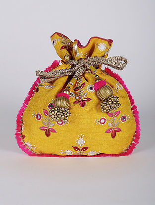 Yellow Handcrafted Embroidered Dupion Silk Potli
