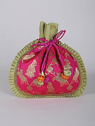 Pink Handcrafted Printed Brocade Silk Potli