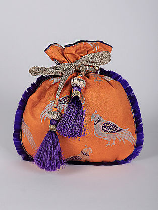 Orange Handcrafted Printed Brocade Silk Potli