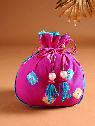 Pink Printed Silk Potli