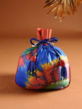 Blue and Orange Printed Silk Potli