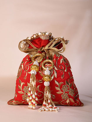 Red Hand Embroidered Dupion Silk Potli