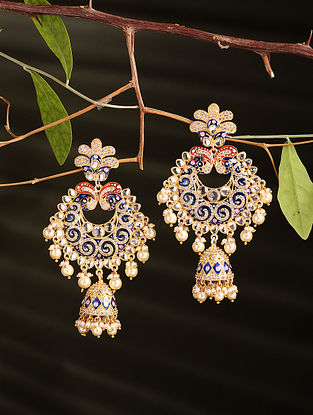 Multicolored Enamelled Gold Plated Jhumki Earrings with Pearls