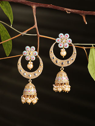 Blue Enamelled Gold Plated Jhumki Earrings with Pearls
