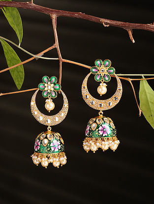 Green Pink Enamelled Gold Plated Jhumki Earrings with Pearls
