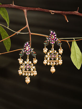 Multicolored Enamelled Gold Plated Earrings with Pearls