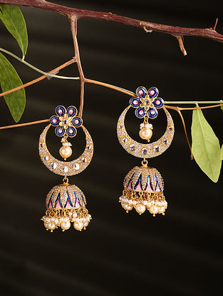 Blue Pink Enamelled Gold Plated Jhumki Earrings with Pearls