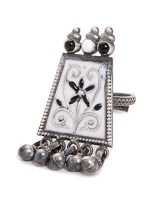 White-Black Enameled Adjustable Silver Ring