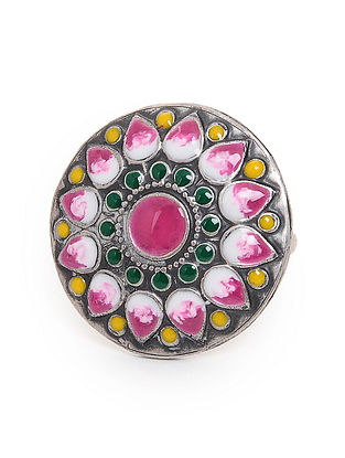Multicolored Enameled Adjustable Silver Ring