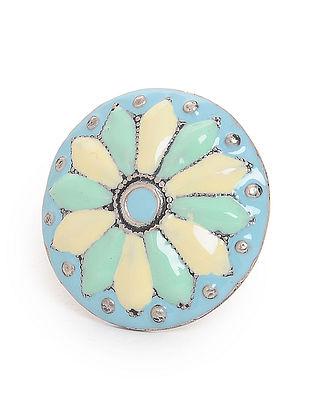 Beige-Blue Enameled Adjustable Silver Ring