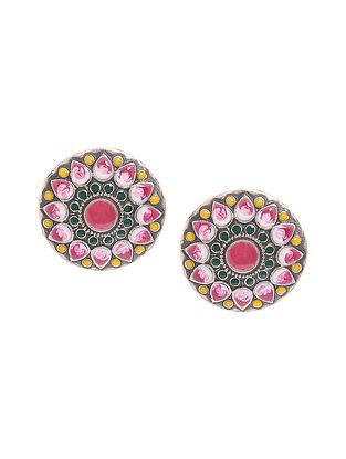 Multicolored Enameled Silver Earrings