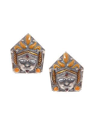 Orange Enameled Silver Earrings