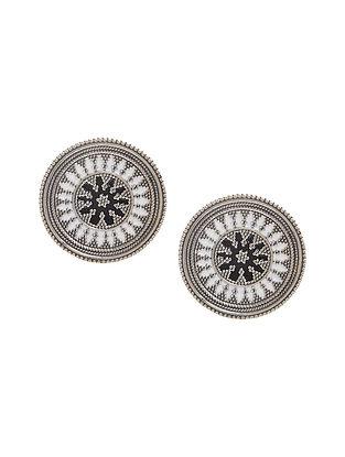 White-Black Enameled Silver Earrings