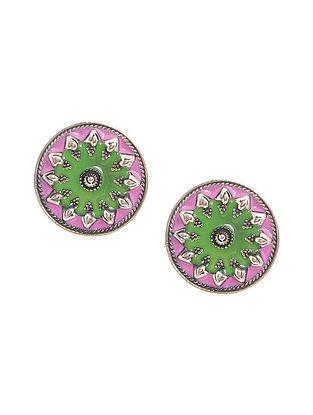Pink-Green Enameled Silver Earrings