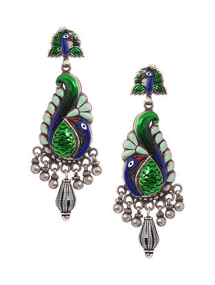 Green-Blue Enameled Silver Earrings with Peacock Design