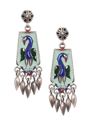 Multicolored Enameled Silver Earrings with Peacock Motif